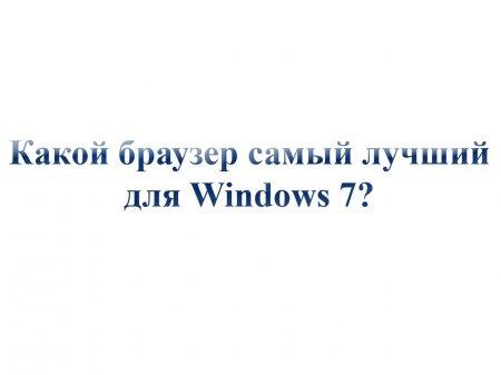 Какой браузер самый лучший для Windows 7?